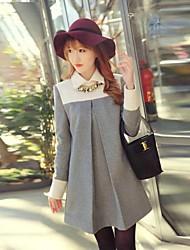 vestido de tweed coreano cuello de polo de las mujeres