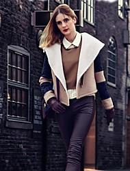 Women's Black/Beige Jackets , Vintage/Casual Long Sleeve