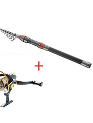 Telespin Rod / Fishing Rod + Reel / Fishing Rod Telespin Rod Carbon 330 M Sea Fishing Rod & Reel Combos Black