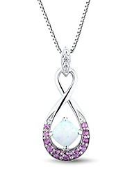 Women's Fashion Inlay Opal and Pink Diamond Sterling Silver Necklace