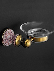 HPB Antique Ti-PVD Finish Brass Wall Mounted Holder with Glass Soap Dishes