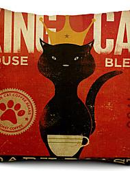 gato rei algodão / linho fronha decorativo