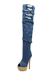 Women's Shoes Fashion Boots Peep Toe Stiletto Heel Denim   Over The Knee Boots  with Zipper