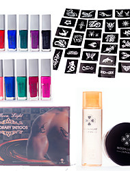 Glitter Tattoo Kits with 12Pcs Tattoo Colors and 30Pcs Tattoo Stencils