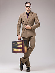Brown Polyester Slim Fit Three-Piece Suit
