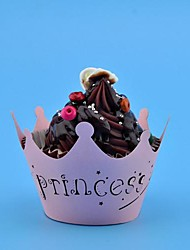 12pcs rosa principessa corona laser cut pizzo involucri del bigné casse della focaccina torta del partito baby shower nozze decoartion