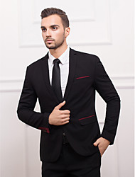 Black&Burgundy Polyester Slim Fit Suit Jacket