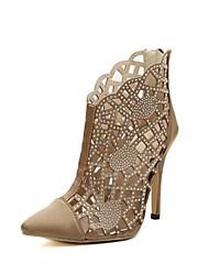 sapatas das mulheres do dedo do pé aguçado ankle boots salto stiletto com strass e oca-out mais cores disponíveis