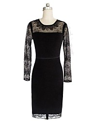 Women's Casual / Lace Dress Knee-length Polyester / Knitwear