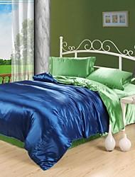 conjunto de funda nórdica, zafiro azul& camello seda verde mezclado colores hotel de 4 unidades de doble tamaño completo reina