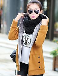 Women's Fashion New Korean Thickening Plus Velvet Large Yard Hoodie Cardigan Coat
