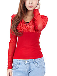 Fashion V Collar Back Letter Lace Blouse Red