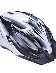 высокой воздухопроницаемостью PC + EPS черный велосипедный шлем со съемным солнцезащитный козырек (17 отверстия) - черный + серебро