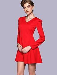 Women's Solid Red Dress , Casual V Neck Long Sleeve