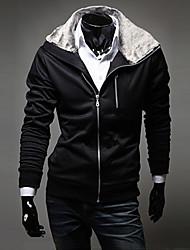 Lesen Men's Hoodie Rabbit Fur Collar Fashion Slim Fleece Casual Long Sleeve Cardigan Hoodie O