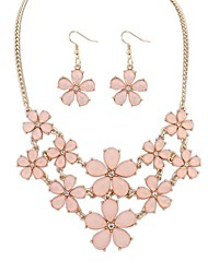 Women's Clearance Layers Flowers Cluster Bib Statement Necklace Earrings Set