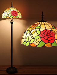 Rose Tiffany Lamp With Stained Glass and Glass Beads