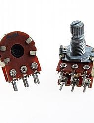 duplex potenciômetro duplo união 6 pinos b10k 15 milímetros cabo longo (5pçs)