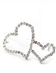 Full Diamond Romantic Heart to Heart Hairpin