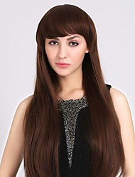 Generous Fashion Natural Full Bang Long Straight Hair Wigs