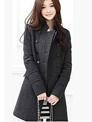 Falari Women's New Linen Double-breasted Coat Coat