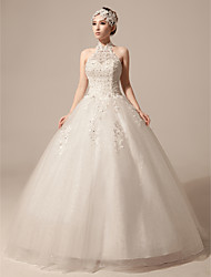 Ball Gown Wedding Dress - Ivory Floor-length High Neck Lace/Tulle