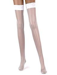 Women's Sexy White Anti-slip Top Thigh Lace Silk Stocking