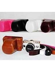 pajiatu® pu câmera pele óleo de couro caso capa protetora saco para pentax q-s1 qs1 câmera digital