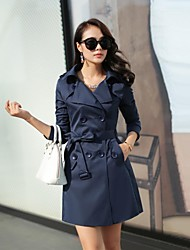Women's Double Breasted Belted Waist Turn-Down Collar Outerwear