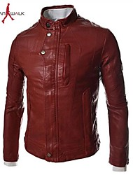 MANWAN WALK®Men's Casual Slim Stand Collar Leather Jacket.Coverd Buttons Frozen Motorcycle Coat.