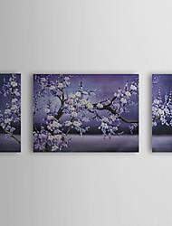 pintura a óleo floral flor de ameixa flores com esticada conjunto de quadros de 3 telas pintadas à mão 1307-fl0165