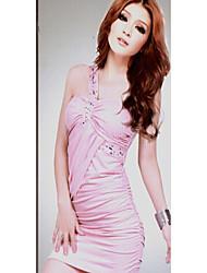 moda vestido de ombro único vezes rosa