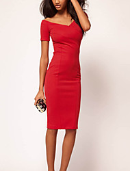 Cocktail Party Dress - Ruby Sheath/Column Scoop Knee-length Polyester