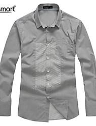 Lesmart Men's Gray Dots British Fashion Casual Shirt Stitching