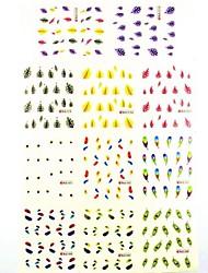1 * 11pcs 3D Wassertransferdruck Nagel-Aufkleber-Abziehbilder Feder für Nagelkunst Nageldekorationen (25 * 16 * 0,1 cm)