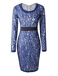Women's Sexy Sheath Dress,Solid Round Neck Midi Long Sleeve Blue / Purple Spring / Summer / Fall