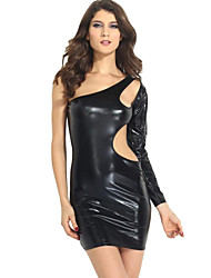 Women's Solid Black/Gold Dress , Sexy/Bodycon One Shoulder Sleeveless/Long Sleeve
