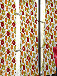 Two Panels Designer Floral / Botanical Multi-color Kids Room Polyester Panel Curtains Drapes
