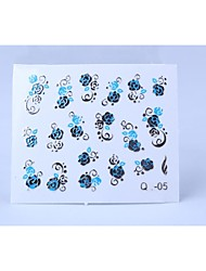 4PCS 3D Relief Blue Flower Style Nail Sticker