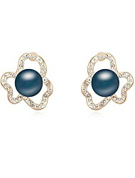 Women's Crystal Pave Flower Shape Pearl Stud Earrings (More Colors)