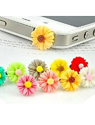 prise d'écouteur chrysanthème fond transparent anti-poussière pour iPhone / iPad et d'autres (couleur aléatoire)