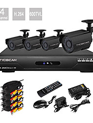 Precio ultra bajo kit CCTV DVR 4 Canalesl H.264 con  4 cámaras CMOS de visión nocturna