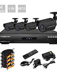 Ultra-Low-Preis 4-Kanal H.264 CCTV DVR-Kit mit 4 Nachtsicht-CMOS-Kameras