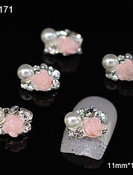 10pcs rosa flor grupo acessórios de liga de diy nail art decoração
