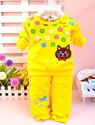 Children's Leisure Little Cat Round Neck Long Sleeve Clothing Set