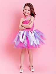 Kids' Dancewear Dresses Tutus Children's Training Polyester Tulle Sash/Ribbon Sleeveless Natural