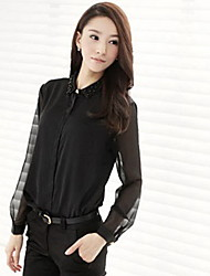 Fashion Beads Embellished Lapel Collar Transparent Sleeves Blouse Black