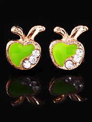 Women's Apple Alloy Stud Earrings With Rhinestone More Colors