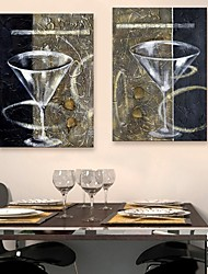 E-HOME® Stretched Canvas Art A Glass Of Red Wine Cup Decoration Painting Set of 2