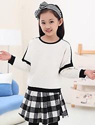 Girl's Check Hoodie & Sweatshirt,Cotton Blend Spring / Fall White